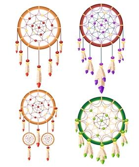 ドリームキャッチャー自由奔放に生きるネイティブアメリカンインディアンのお守りの4つのセット。部族。羽つきの魔法のアイテム。おしゃれなタリスマン。白い背景の上の図
