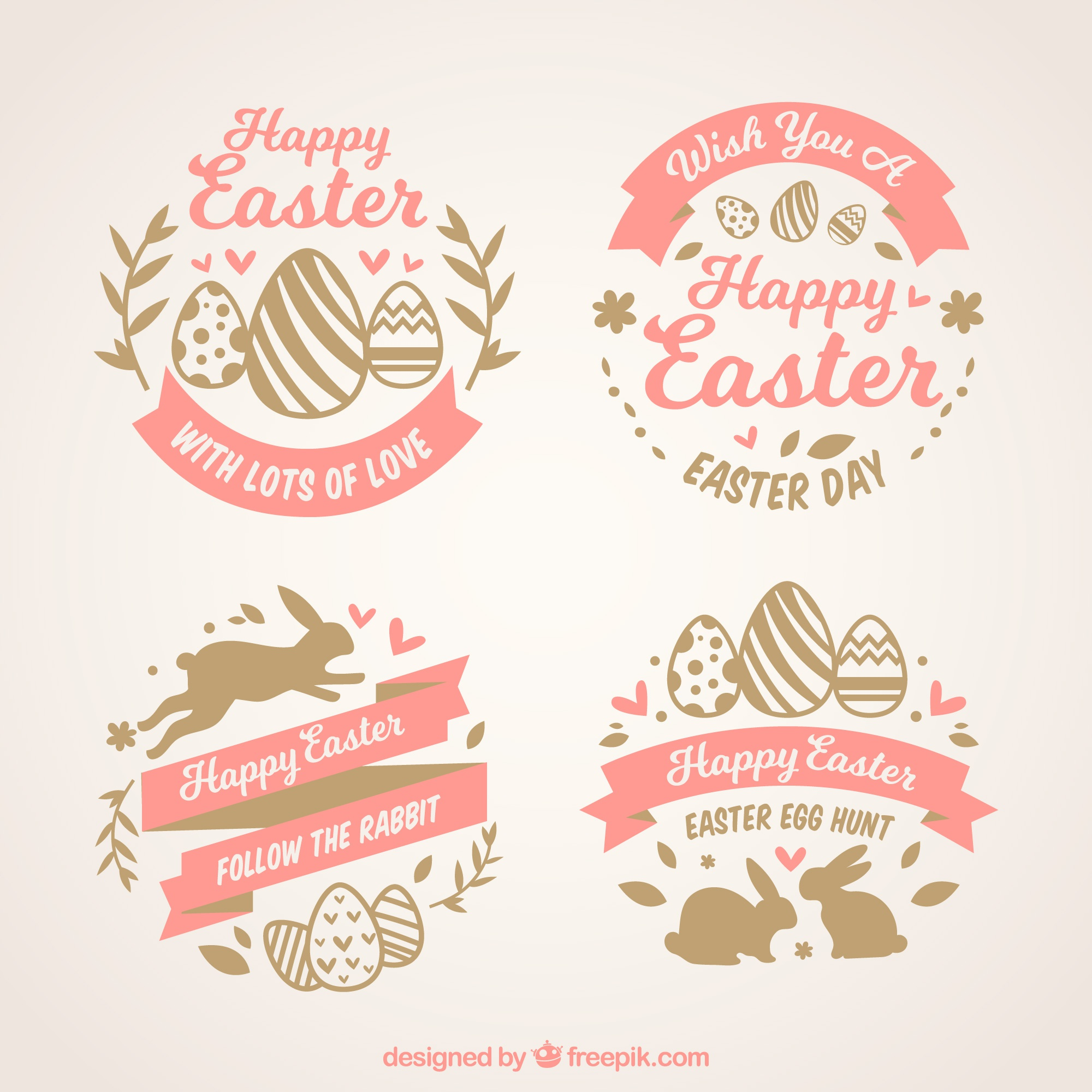 Set of four easter labels