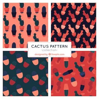 4つのエレガントなサボテンのパターンのセット