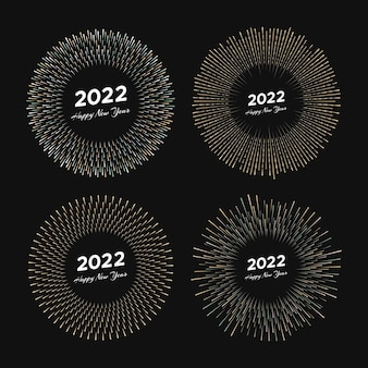 2022년과 새해 복 많이 받으세요. 라인 광선 폭발 검은 배경에 고립 된 크리스마스 카드입니다. 벡터 일러스트 레이 션