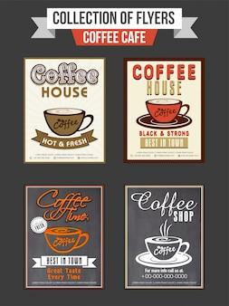 コーヒーショップのための4つのチラシまたはテンプレートデザインのセット