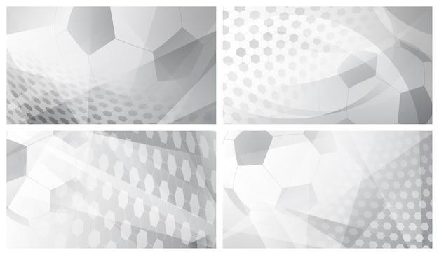 Набор из четырех футбольных или футбольных абстрактных фонов с большим мячом в серых тонах