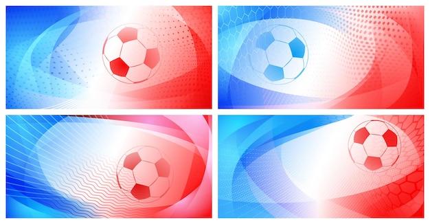 프랑스의 국가 색상으로 큰 공이 있는 4개의 축구 또는 축구 추상 배경 세트