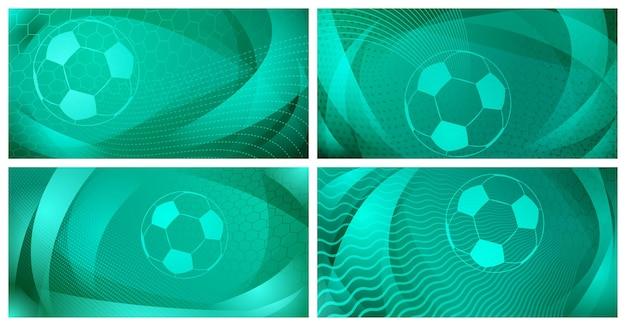 ターコイズ色の大きなボールと4つのサッカーまたはサッカーの背景のセット