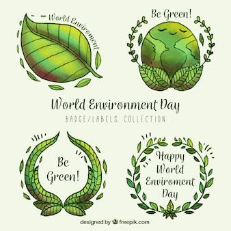 世界環境日のための4つの緑のラベルのセット