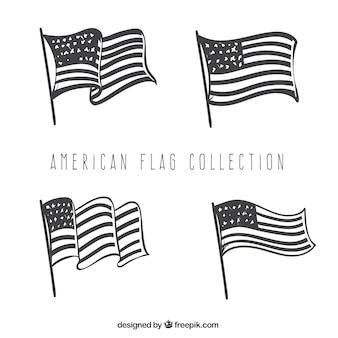 4 개의 손으로 그린 미국 국기 세트