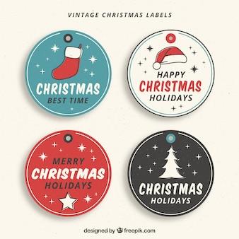 4 개의 손으로 그린 크리스마스 스티커 세트