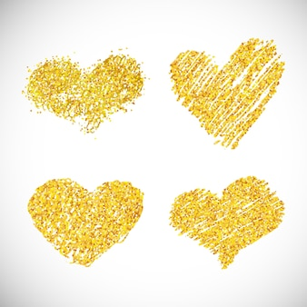 Набор из четырех рисованной золотой блеск сердец. символ любви. векторная иллюстрация