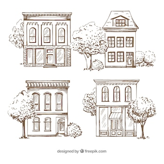 Set of four hand drawn houses
