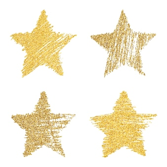 ゴールドのキラキラ効果を持つ4つの手描きの星のセットです。白い背景にゴールドのキラキラ効果を持つ落書きスタイルのラフな星の形。ベクトルイラスト