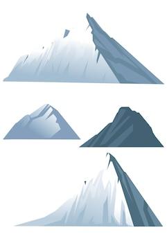 冬のフラットイラストの4つの高山のセット