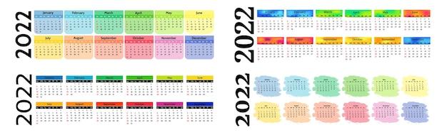 白い背景で隔離の2022年の4つの水平カレンダーのセットです。日曜日から月曜日、ビジネステンプレート。ベクトルイラスト
