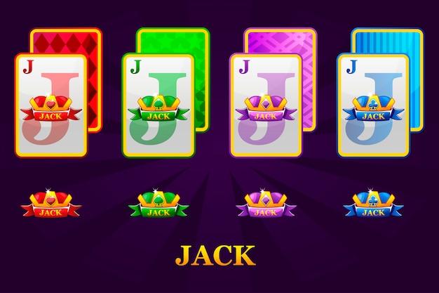 ポーカーとカジノのための4つのジャックトランプスーツのセット。ハート、スペード、クラブ、ダイヤモンドジャックのセット。