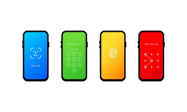 Набор из четырех интерфейсов с паролем для экрана мобильного телефона