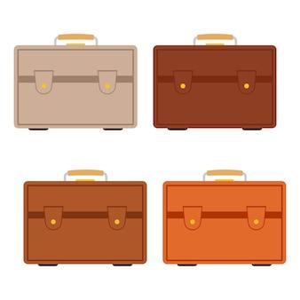 흰색 배경에 수하물이 있는 4개의 여러 가지 빛깔의 여행 가방 세트. 플랫 스타일의 여행 여행 가방. 벡터 일러스트 레이 션