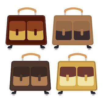 흰색 배경에 수하물이 있는 4가지 색상의 바퀴 달린 여행 가방 세트. 플랫 스타일의 여행 여행 가방. 벡터 일러스트 레이 션