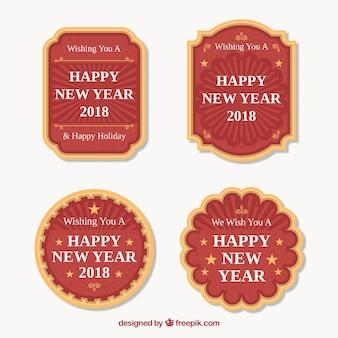 4つの新年のバッジのセット