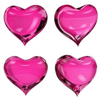 핑크 색상의 4개의 불투명 하트 세트