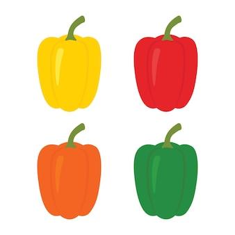 4 개의 고추 세트. 노란색, 빨간색, 주황색 및 녹색 후추. 그림 흰색 배경에 고립입니다.
