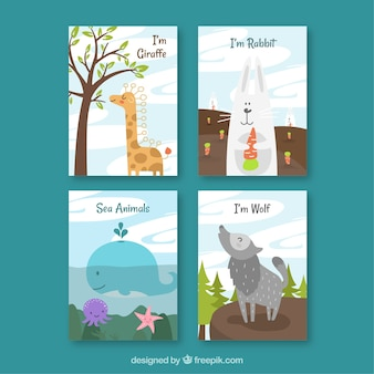 예쁜 동물 카드 4 장 세트