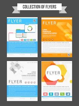 Набор из четырех профессиональных листовок или шаблонов для бизнес-отчетов и презентации