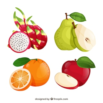 Set of four realistic fruits