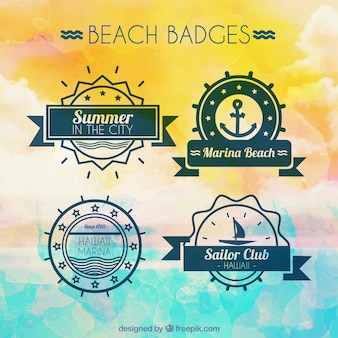 Набор из четырех ретро милые значки пляжа