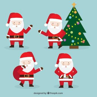 Set of four santa claus for christmas celebration