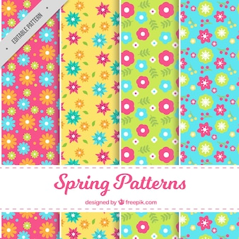 평면 디자인의 아름다운 꽃으로 4 개의 봄 패턴 세트