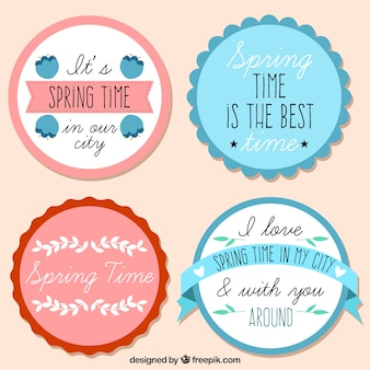 Set of four spring round stickers