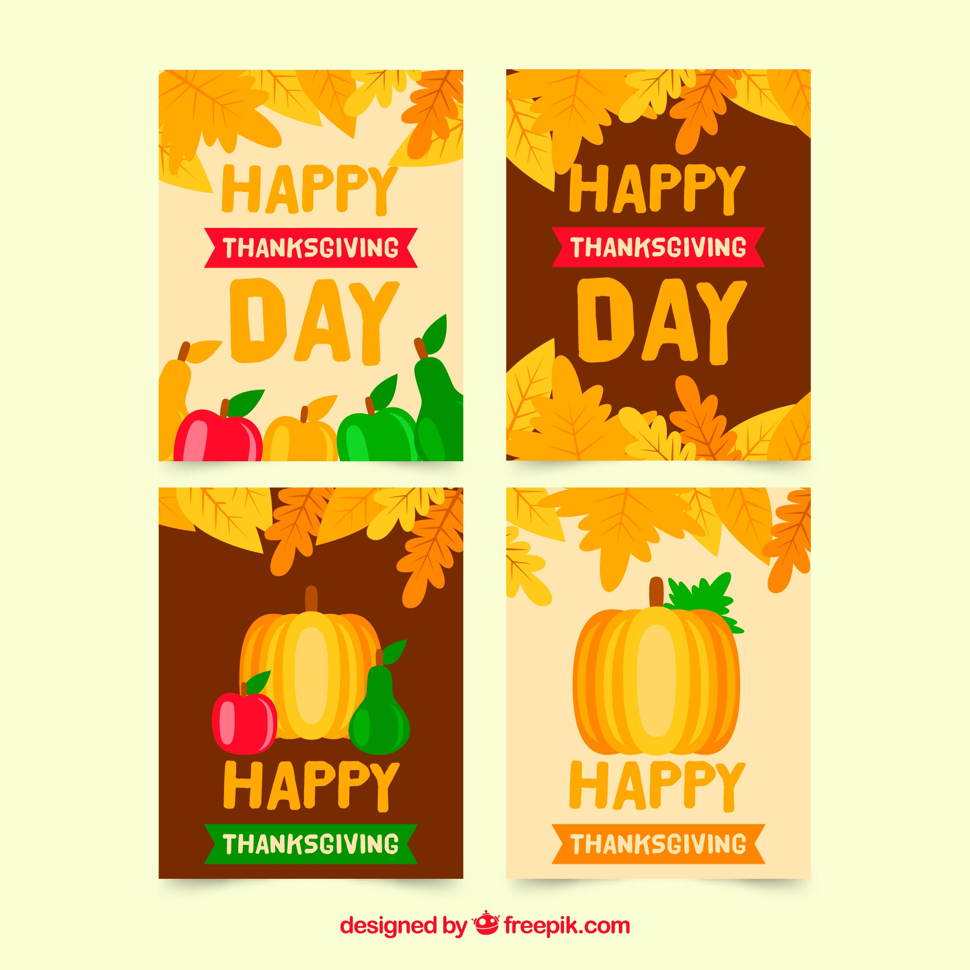 Set of four thanksgiving cards
