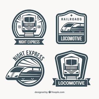 Набор из четырех логотипов поездов Бесплатные векторы