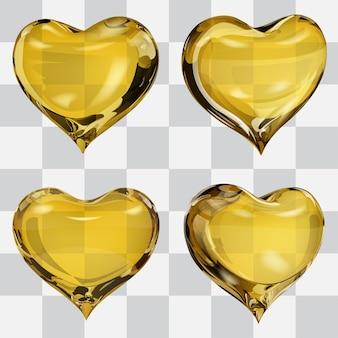 黄色の4つの透明なハートのセット