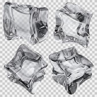 灰色の4つの透明な角氷のセット。ベクターファイルのみの透明度