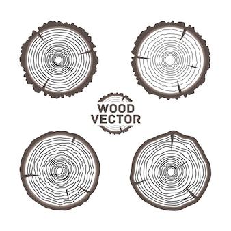 Комплект 4 колец дерева предпосылки и ствола дерева отрезка пилы. иллюстрация