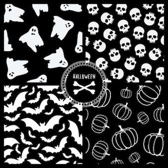 Набор из четырех векторных бесшовные черно-белые узоры на хэллоуин