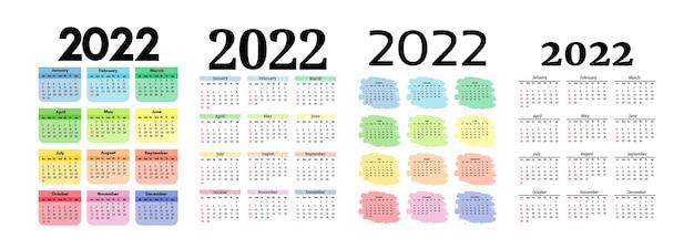 Набор из четырех вертикальных календарей на 2022 год, изолированных на белом фоне. с воскресенья по понедельник, деловой шаблон. векторная иллюстрация
