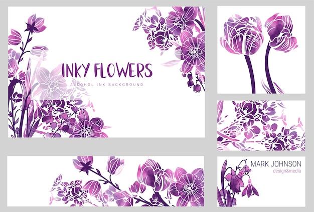 4 개의 결혼식 초대 카드, 보라색 알코올 잉크 질감 봄 꽃, 손으로 그린 그림 세트