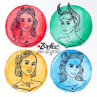 Набор из четырех знаков зодиака как девушки в стиле пин-ап