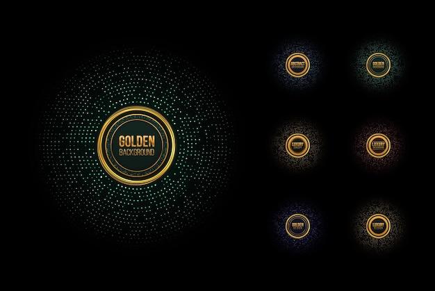 ゴールドラメハーフトーンドット抽象的な円形レトロパターンとフレームのセット