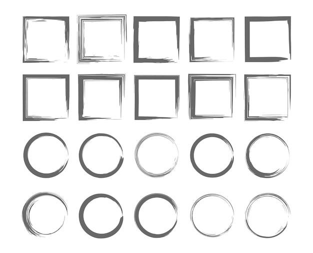 그런 지 스타일의 프레임 세트 흰색 배경 디자인 요소에 더러운 테두리 컬렉션