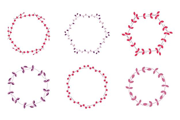 Набор рамок, лавров и венков. элементы для свадьбы, праздника и поздравительных открыток. винтажные шаблоны. векторная иллюстрация.
