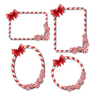 빨간색과 흰색 사탕과 붉은 나비와 사탕 지팡이로 만든 프레임 세트