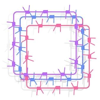 가시와 금속 강철 철조망에서 사각형 모양의 프레임 세트 프리미엄 벡터
