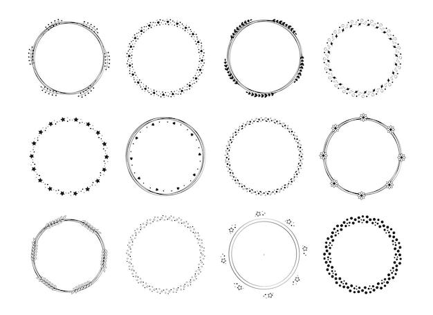 フレームの花輪と月桂樹のセットヴィンテージテンプレートホリデーカードとグリーティングカードの要素