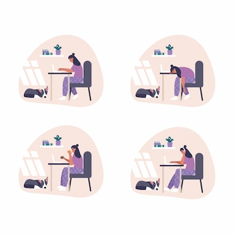 自宅でのフリーランスの仕事のコンセプトイラスト-ヘッドセットを持つ女性は、自宅のラップトップで働いています。ホームオフィスでの作業工程のフラットのイラスト。