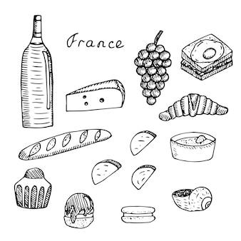 フランス料理、ワインと伝統的なスナック、ベクトルイラスト、手描きのセット