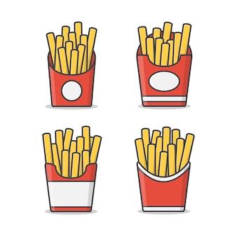 종이 상자 그림에서 감자 튀김의 집합입니다. 패스트 푸드 상자에 감자 튀김