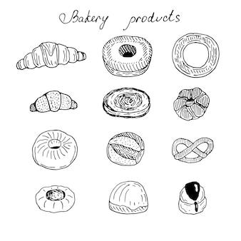 Набор свежих булочек, векторные иллюстрации каракули, эскиз