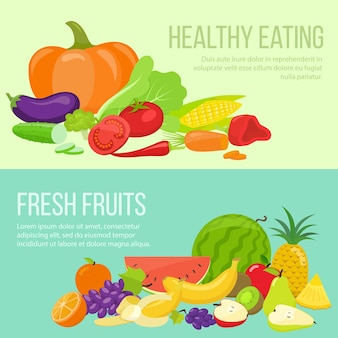 Набор свежих фруктов и овощей баннеров